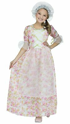 Colonial Lady Girl's Child Costume Pink Floral Dress Little House Prairie SM-LG - Pink Lady Girls Costume