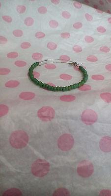 Alex & Ani Green Frost Sea Beads Beaded Silver Bangle Bracelet Rare