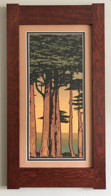 """Mission Style Quartersawn Oak Arts & Crafts Framed Print- Lands End 23"""""""