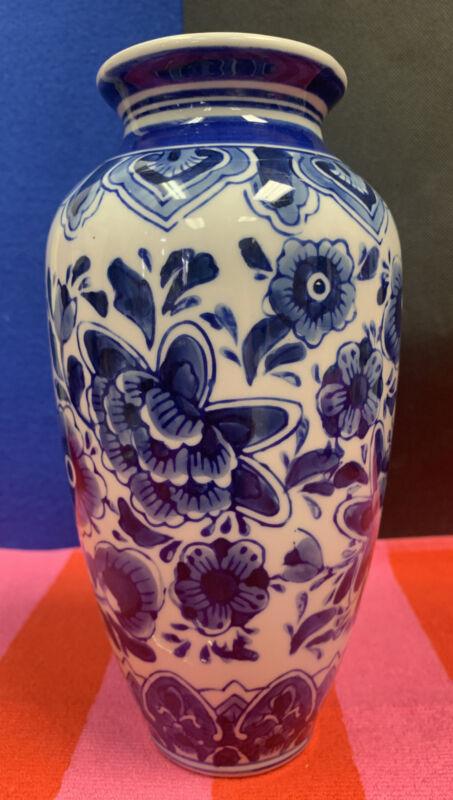 "New Blue & White Chinoiserie Vase,  8.25"" tall"