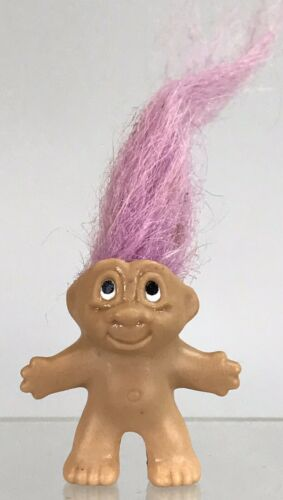 Vintage Dam Troll Rubber Pencil Topper Violet Purple Hair 1.5 Figure Tummy 1989 - $6.64
