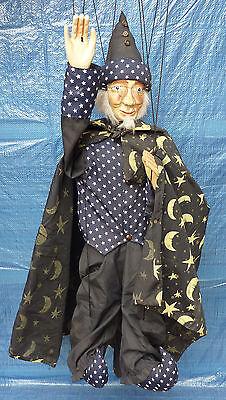 Zauberer Marionette aus Holz & Stoff 100 cm Hexenmeister Hexer männliche Hexe