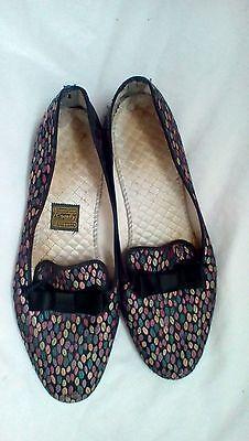 Vintage Rare  Comfy Daniel Green Multicolor Dot  Bow Satin Flats sz 9.5