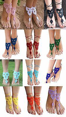 Barefoot Crochet Sandals Anklet Bohemian Boho Beach Hippie Wedding Bridal (Hippie Sandals)