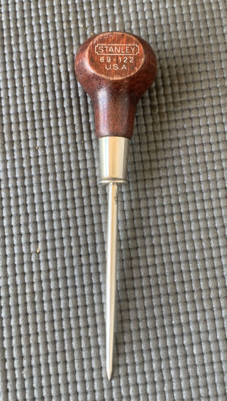 """Vintage STANLEY #69-122 Scratch Awl Wood Handle - 6 1/4"""" Length - USA"""