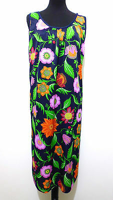 Cult Vintage '70 Damenkleid Jersey Flower Frau Kleid SZ.L - Flower Jersey Kleid
