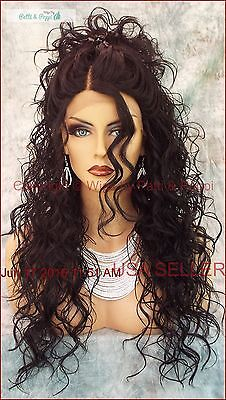 SWISS LACE FRONT DEEP LACE PART LONG CURLY HEAT FRIENDLY WIG COLOR 1B  SEXY 318 Swiss Lace Front Wigs