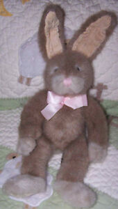 Russ-Tan-Taupe-Fuzzy-Bunny-Rabbit-HOPSCOTCH-w-Poseable-Ears-14-EUC
