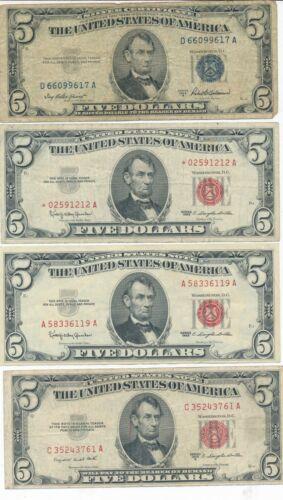 LOT (4) $5 SILVER CERT & U.S. NOTES-1953 1963-VARIOUS GRADES-1 STAR NOTE-FREE SH