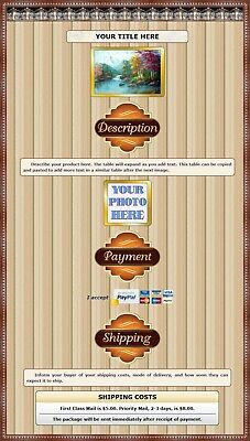 AUCTION TEMPLATE Royal Crown Border Design Earth Tones - FREE SHIPPING - $2.49