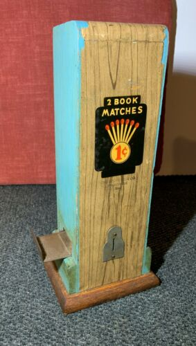 ☆ Vintage 1 Cent MATCHBOOK VENDING MACHINE ☆14 Inches Tall ☆ CHICAGO MATCH CO ☆