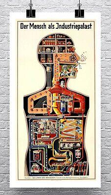 Man As Industrial Palace Vintage German Poster Canvas Giclee Print 17x30 in. - German Vintage Poster