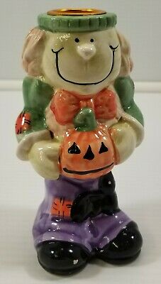 MI) Halloween Scarecrow Pumpkin Ceramic Candlestick Holder