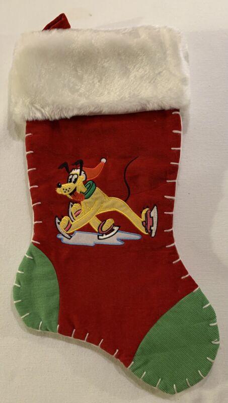 """Disney Pluto Christmas Stocking 16"""" x 7-1/2"""" EUC"""
