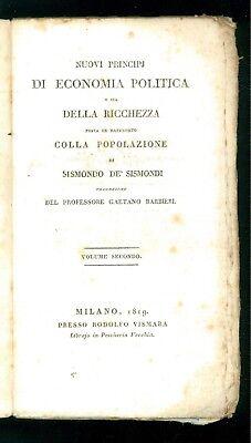 DE' SISMONDI SISMONDO NUOVI PRINCIPJ DI ECONOMIA POLITICA VISMARA 1819 VOLL. 2-3