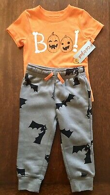 Cat Halloween Outfit (Cat & Jack Halloween 2T 2 Piece Outfit BRAND NEW WITH TAGS Boo Pumpkin)