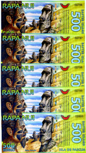LOT Easter Island, 5 x 500 Rongo, 2011, Polymer, UNC > First Issue