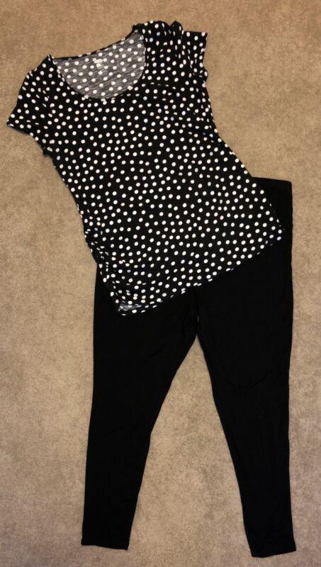 Maternity Leggings And Shirt Size XL Black Bottoms And Polkadot Top
