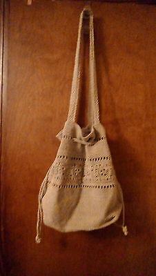Drawstring Hobo Bag - Women's Handbag woven Natural Tan with drawstring hobo style shoulder bag