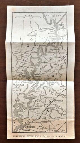 Original 1868 Civil War Vellum Map ~ MISSISSIPPI RIVER ~ Detailed Extremely Rare