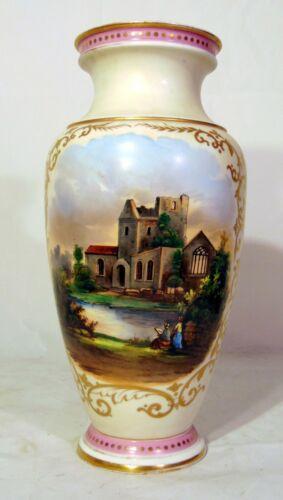 "Large 19th C French Old Paris Porcelain Vase Handpainted Castle Scene 15"""