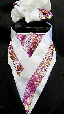 Ready Tied White Faux Silk with Hot Pink & Gold Paisley Riding Stock & Scrunchie