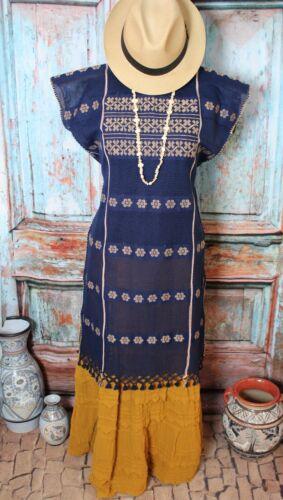 Mexican Huipil Dress Blue & Beige Amuzgo Oaxaca Handwoven Backstrap Loom Hippie