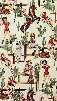 AH222 Sexy Pin Up Girl Cowgirl Horse Saddle Cactus Western Cotton Quilt -