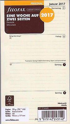 Filofax Personal 2017 Kalender Cotton Cream 1Woche/2Seiten A6 deutsch 17-68458