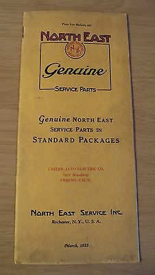 "RARE 1925 GENUINE Electrical AUTO Parts Catalog~""NORTH EAST SERVICE""~Rochester~"