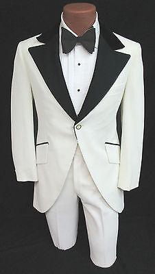 Vintage White Tuxedo Jacket & Pants Cutaway Morning Coat 1970's Disco Prom