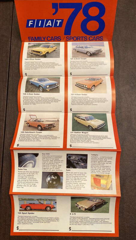 1978 Fiat Full Line Fold Out Brochure Original Excellent Condition