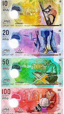 Maldives 2015 Polymer Uncirculated 4 Notes 10  20  50  100 Rufiyaa