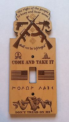 GUN RIGHTS Wooden Single Light Switch Plate Cover 223 556 man cave