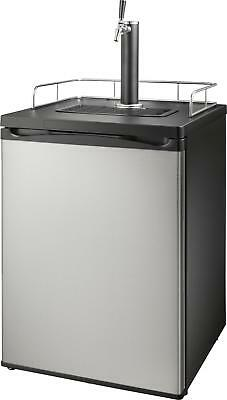Insignia- 5.6 Cu. Ft. 1-Tap Beverage Cooler Kegerator - Stainless steel