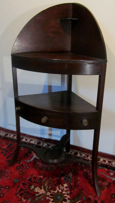 18TH C GEORGE III PERIOD ENGLISH MAHOGANY CORNER ANTIQUE STAND W PLANTER BASE