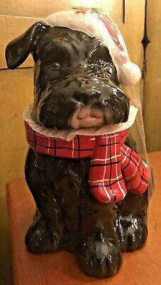 Schnauzer Scottie Dog Cookie Jar - Christmas Terrier Sleigh Bell Bistro
