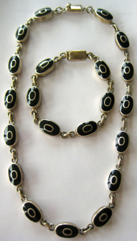 BOLD STERLING SILVER ONYX BRACELET NECKLACE SET HAND MADE ARTISAN NEW AGE MEXICO