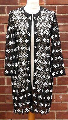 Benetton Mujer Negro Blanco Poliéster Encaje Nuevo Margarita Diseño Jacket GB 10