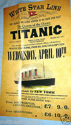 TITANIC Poster Disaster New York City Steamer Travel Sea Liverpool Belfast Ship