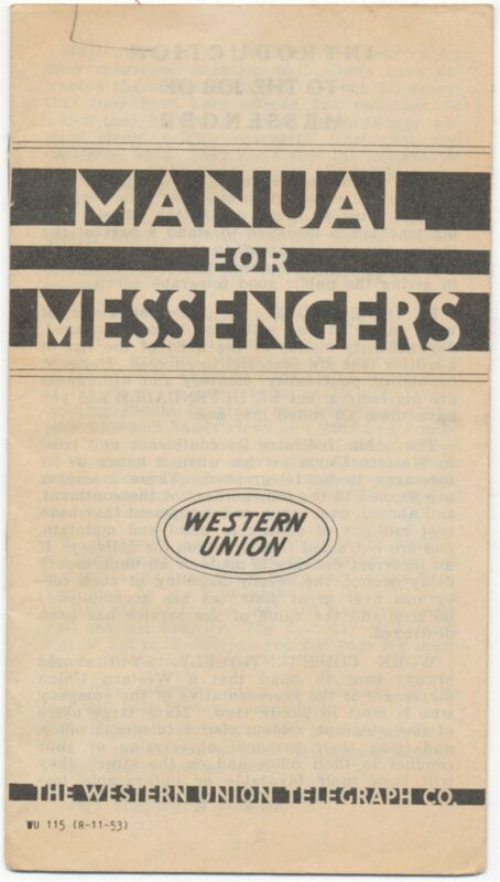 Western Union Manual For Messengers 1953