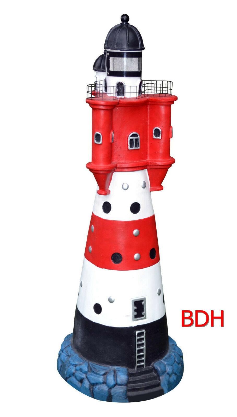 Solar Leuchtturm Roter Sand Blinklicht + LED Beleuchtung 50 cm Deko Garten NEU