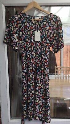 Jacqueline De Yong Shilla Size Medium Floral Tie Waist Dress.           c