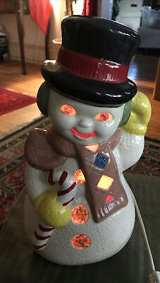 "Vintage light up ceramic snowman 13"" tall"