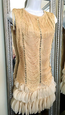 flapper dress Red Beige rhinestone fringe Salsa Latin Dance 20's costume Sm L - Red Flapper