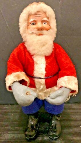 """Antique Vintage Large 8"""" Santa Composition Face Hands Boots Cotton Beard German"""
