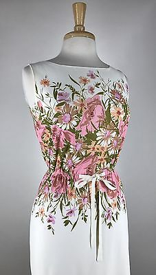 Perfect! Vtg 50s 60s Lightweight Floral Nip Waist Wiggle Cocktail Dress S M