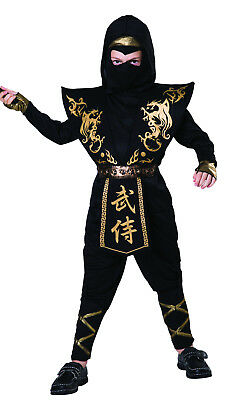 Boys Kids Child Black Gold Ninja Halloween Book Day Fancy Dress Costume 4-12  - Halloween 4 Script