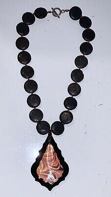 "Womens Round Black Bead & Glass Pendant Fashion Necklace 18"" Fashion Pendant Bead Necklace"