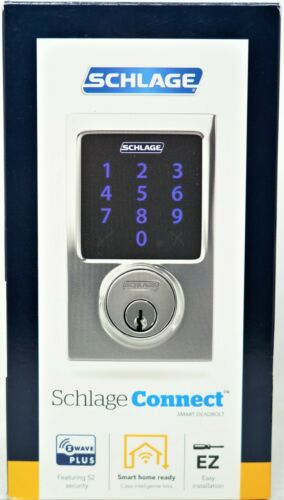 Schlage Smart Lock BE469 Connect Century Chrome Deadbolt Lighted Touchpad New